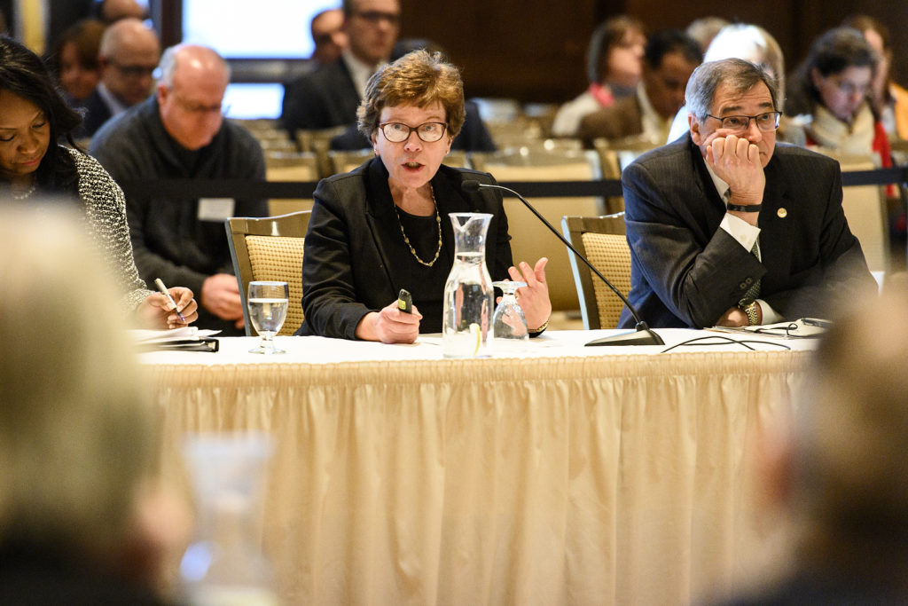 Rebecca Blank, chancellor of the University of Wisconsin Madison, speaks during the UW System Board of Regents meeting hosted at Union South at the University of Wisconsin-Madison on Feb. 8, 2019. (Photo by Bryce Richter /UW-Madison)