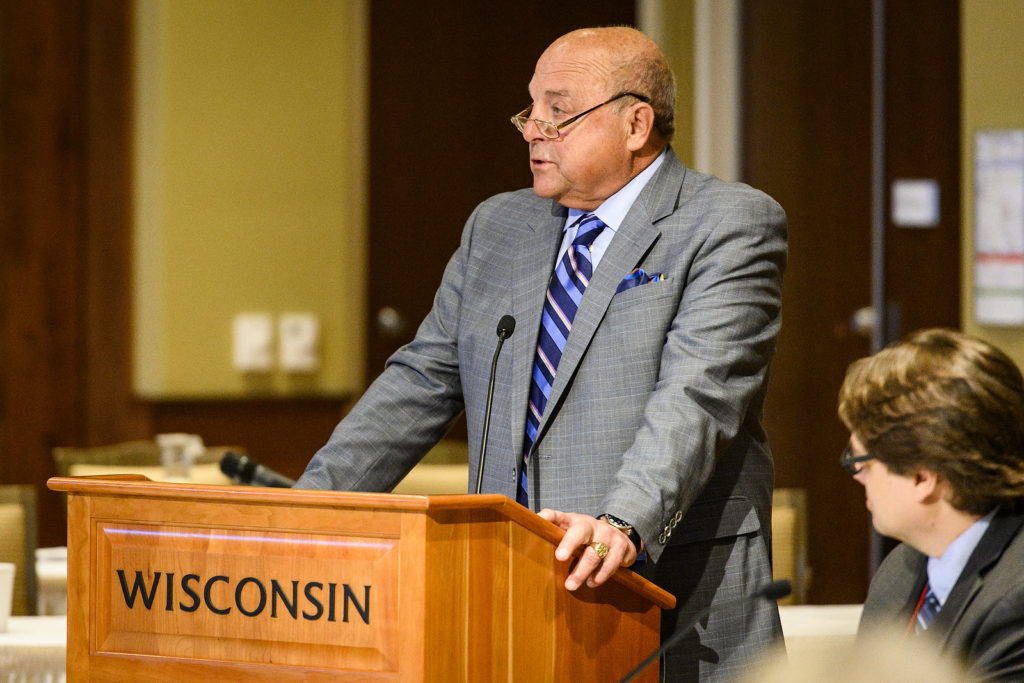Barry Alvarez, athletic director at the University of Wisconsin Madison, speaks during the UW System Board of Regents meeting hosted at Union South at the University of Wisconsin-Madison on Feb. 8, 2019. (Photo by Bryce Richter /UW-Madison)