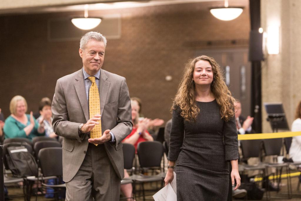 Photo of UW-Milwaukee Chancellor Mark Mone and Alyssa Molinski, featured in the Student Spotlight