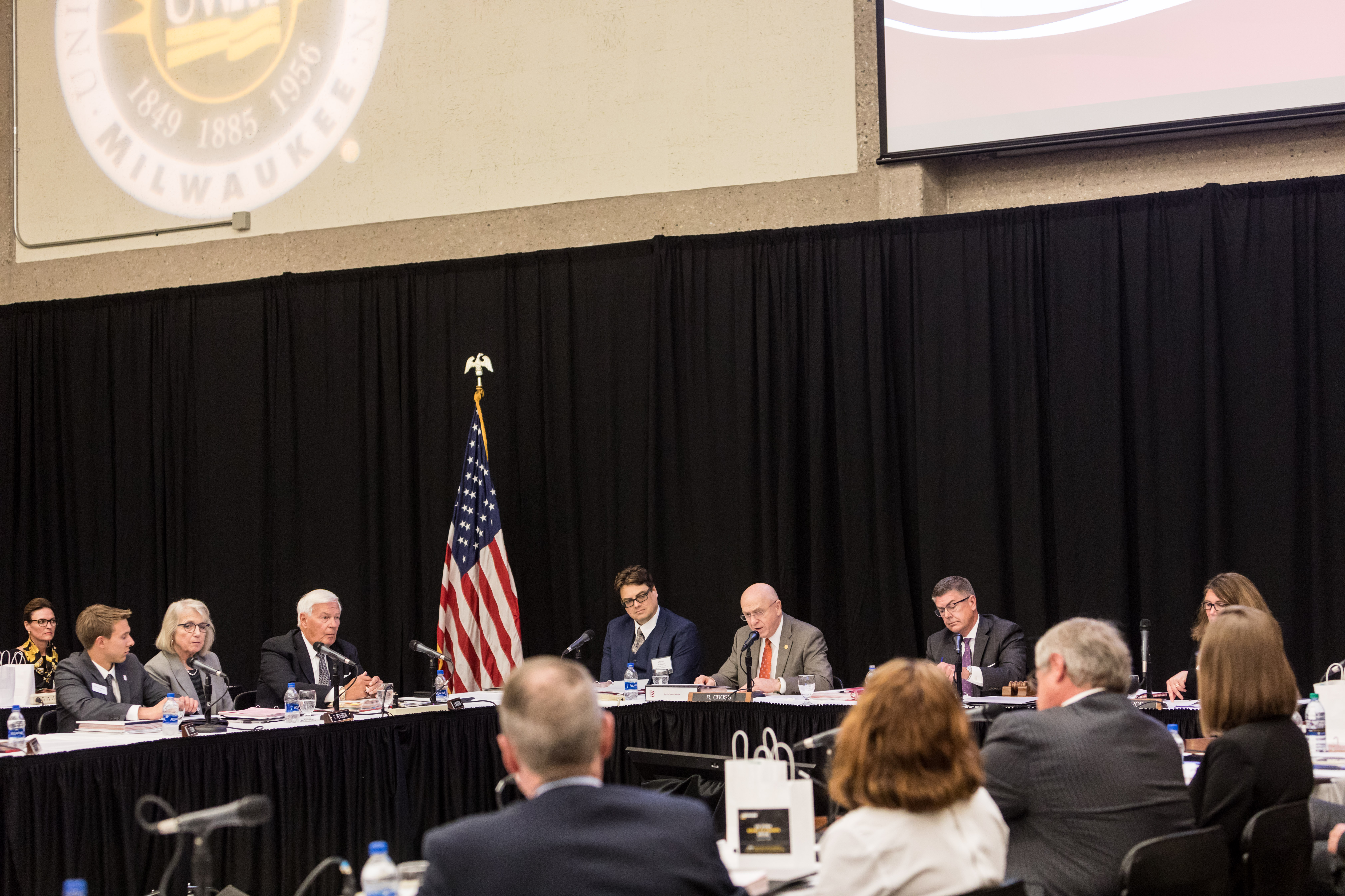 Photo of President Ray Cross speaking at the Board of Regents meeting hosted by UW-Milwaukee on June 6, 2019. (Photo by Mikaila Dusenberry/UW-Milwaukee)