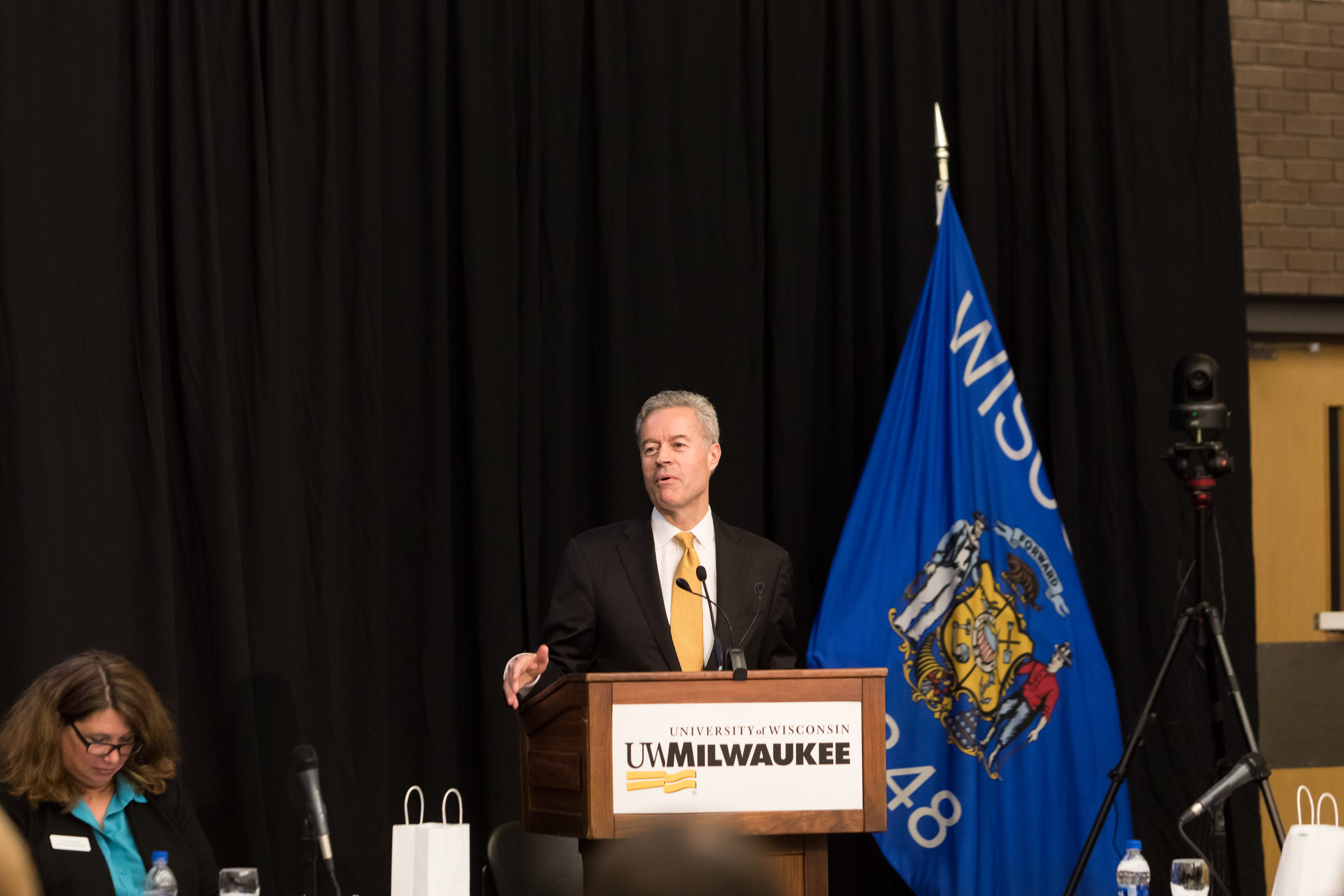 Photo of Chancellor Mark Mone speaking at the Board of Regents meeting hosted by UW-Milwaukee on June 6, 2019. (Photo by Mikaila Dusenberry/UW-Milwaukee)