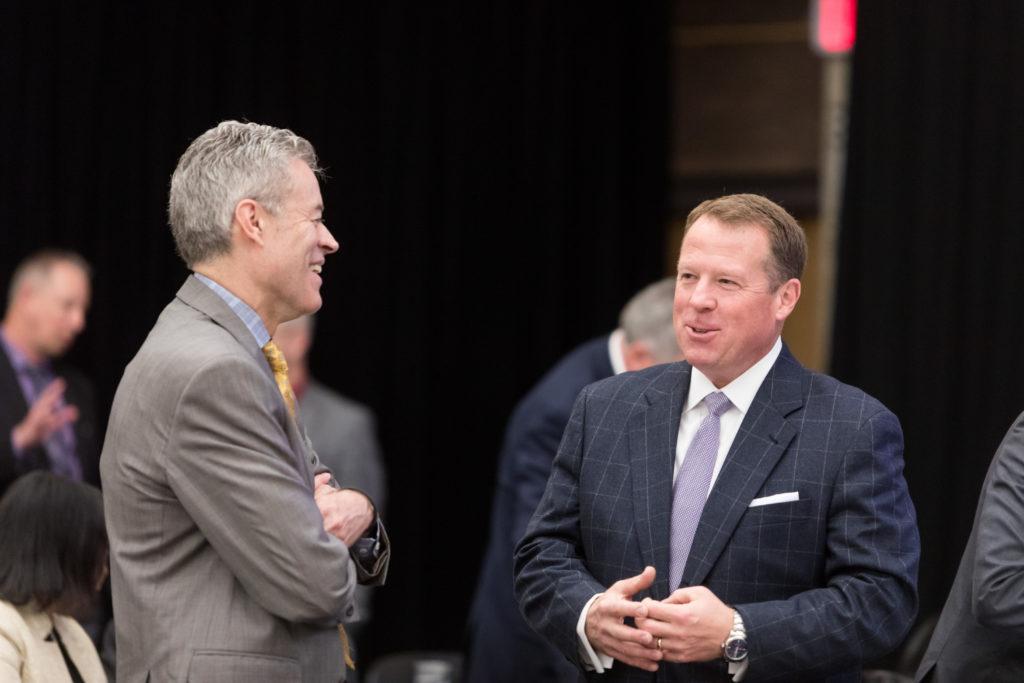 Photo of UW-Milwaukee Chancellor Mark Mone and Regent Michael M. Grebe