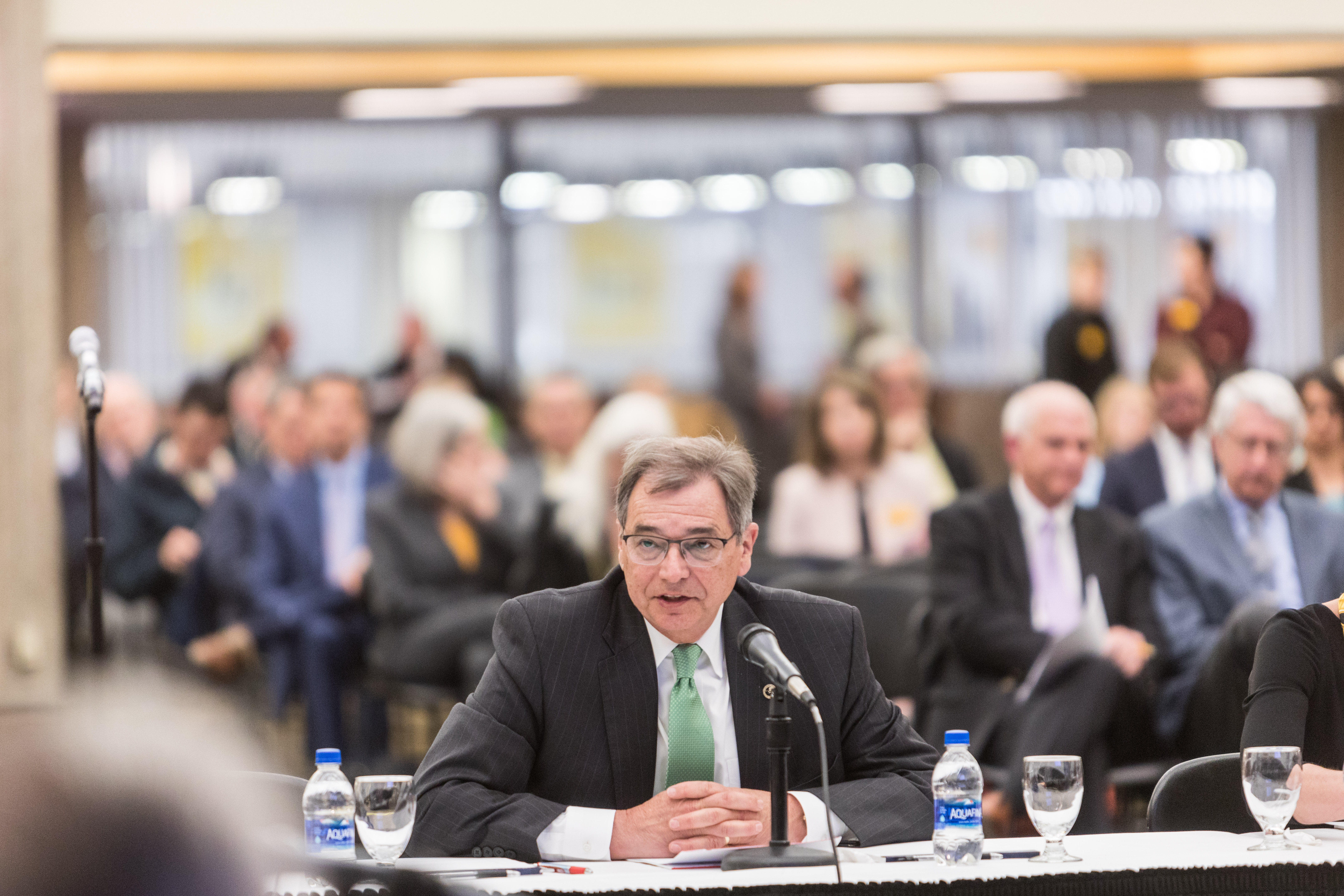 Photo of UW-Green Bay Chancellor Gary Miller speaking at the Board of Regents meeting hosted by UW-Milwaukee on June 6, 2019. (Photo by Mikaila Dusenberry/UW-Milwaukee)