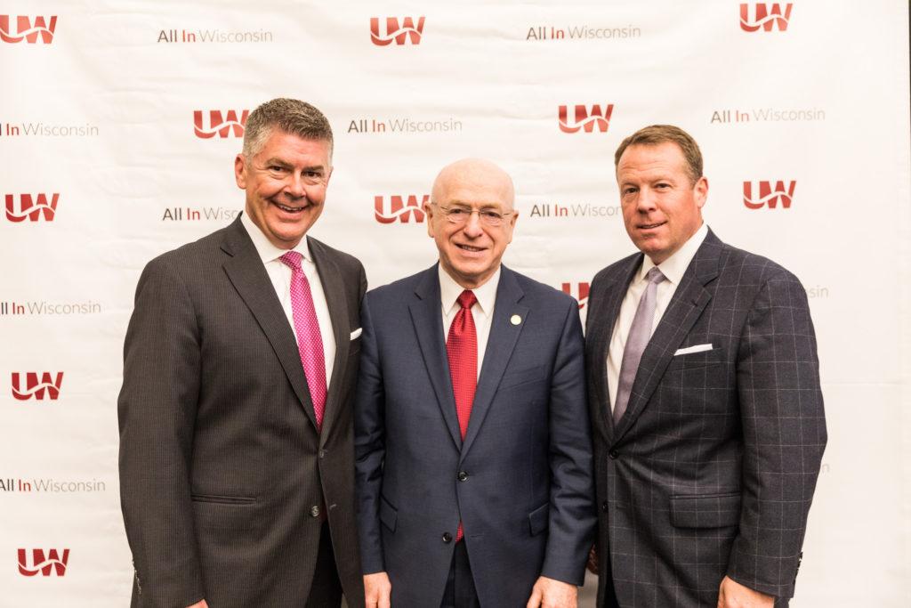 Photo of (from left) Regent President Drew Petersen, UW System President Ray Cross, and Regent Vice President Michael M. Grebe