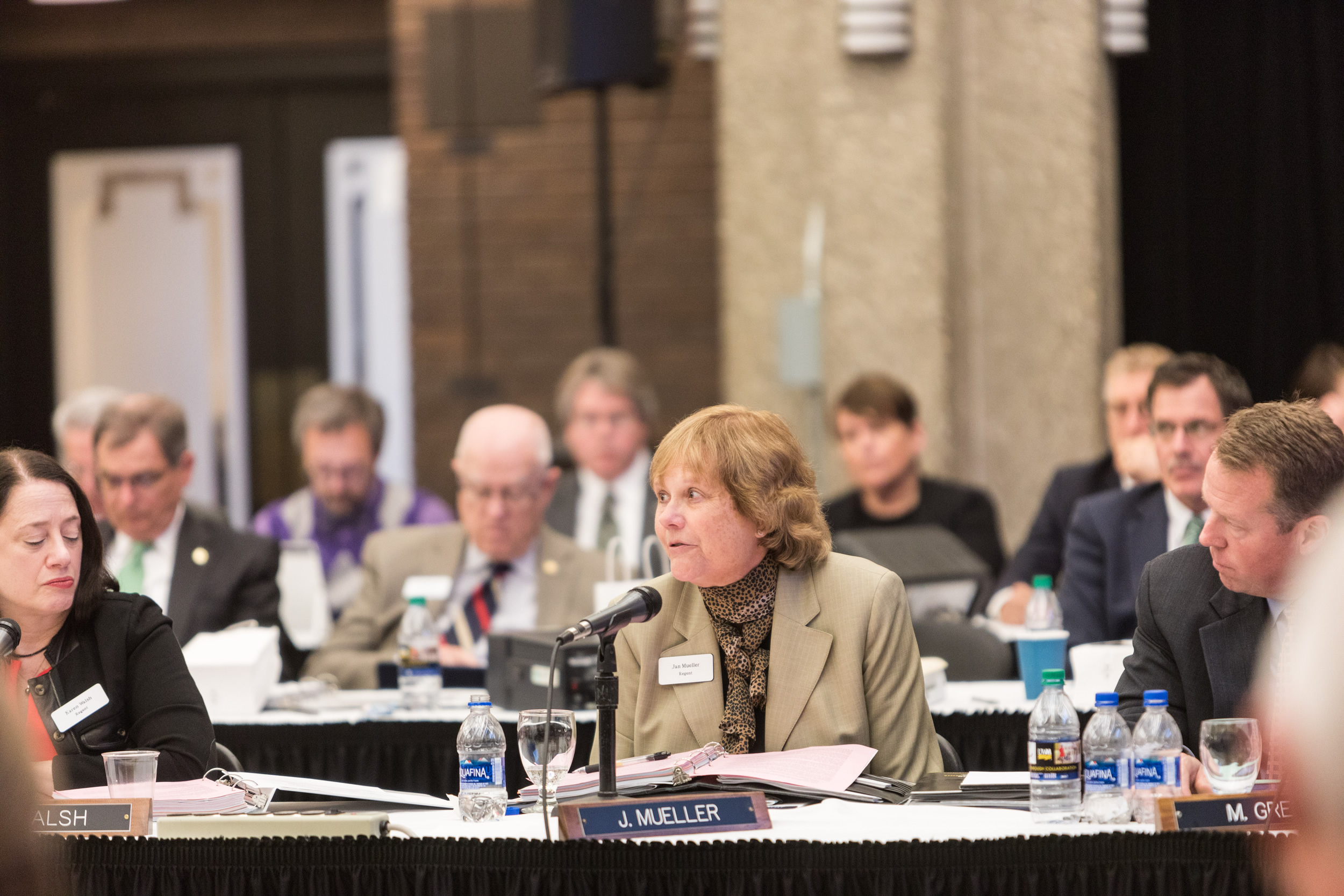 Photo of Regent Janice Mueller speaking at the Board of Regents meeting hosted by UW-Milwaukee on June 6, 2019. (Photo by Mikaila Dusenberry/UW-Milwaukee)