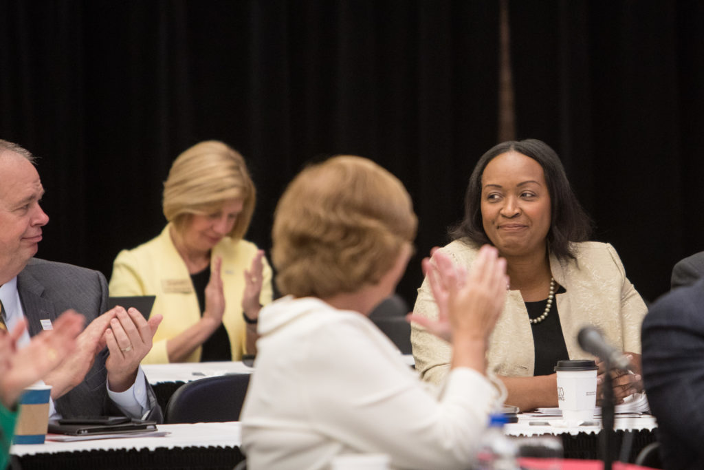 Photo of (far right) UW-Whitewater interim Chancellor Cheryl Green