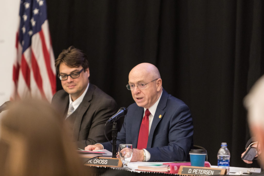Photo of (from left) UW System General Counsel Quinn Williams and UW System President Ray Cross