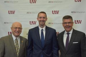 Photo of President Ray Cross, Dr. Nicholas Bakken, and Regent President Andrew S. Petersen