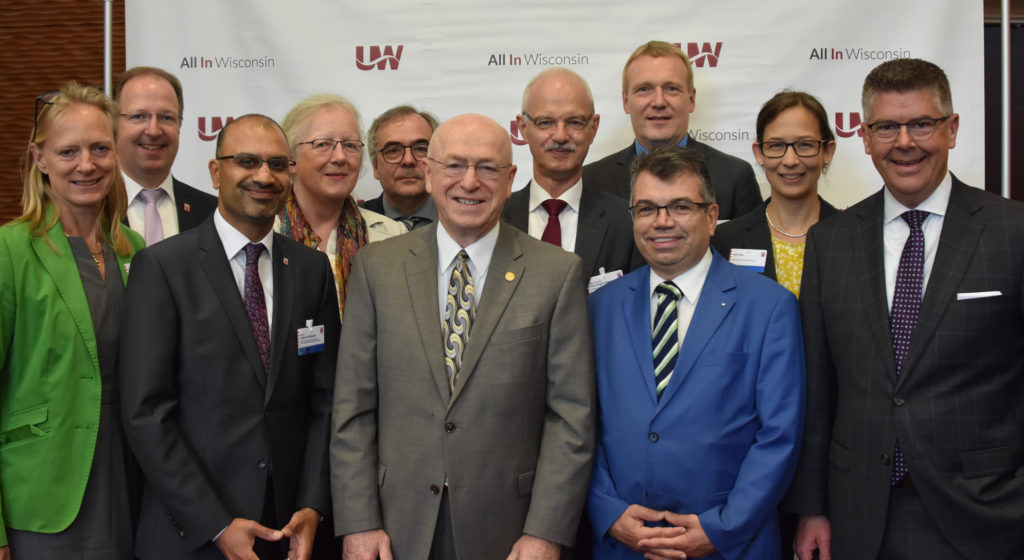 Photo of University of Wisconsin System President Ray Cross - front row center - with members of the delegation from the State of Hessen, Germany