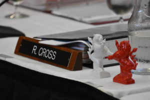 Photo of lion figurines, a gift to President Ray Cross from the Hessen delegation