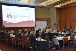 Photo of Regent President Petersen addressing the Board of Regents