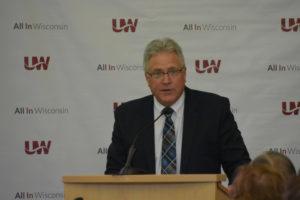 Photo of UW-Stout Chancellor Robert (Bob) Meyer making remarks