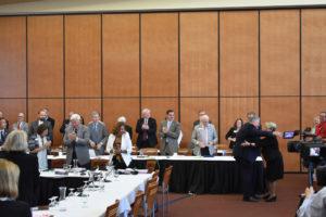 Photo of UW-Stout Chancellor Robert (Bob) Meyer greeting Regents