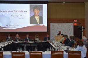 Photo of Regent Emerita Regina Millner making remarks