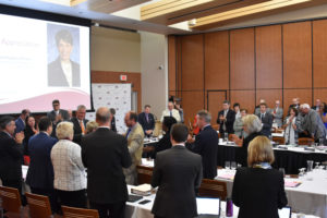 Photo of Regent Emerita Regina Millner greeting Regents