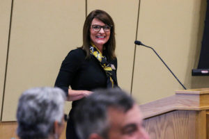 "Photo of UW-Superior Chancellor Renee Wachter giving the host campus presentation, ""Small But Mighty: A Story of Superior Impact,"" to the Board of Regents at its October 10, 2019, meeting hosted by UW-Superior."