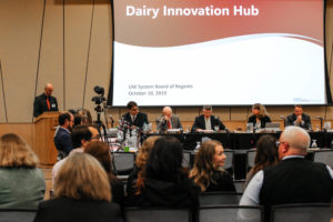 Photo of Dairy Innovation Hub presentation at the Board of Regents meeting hosted by UW-Superior on October 10, 2019.