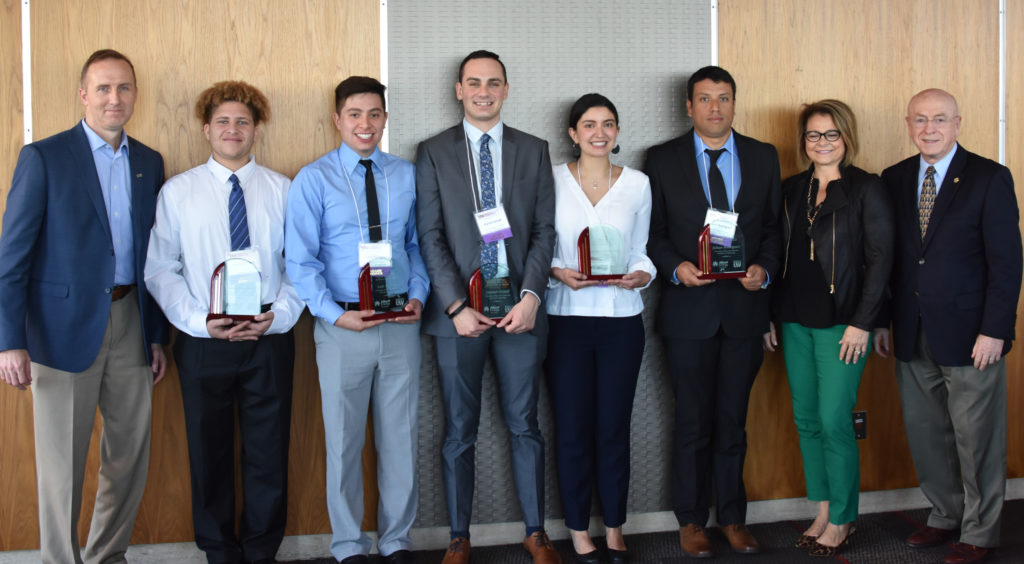 Photo of 2019 recipients of Alliant Energy/Erroll B. Davis, Jr. Academic Achievement Award with award presenters