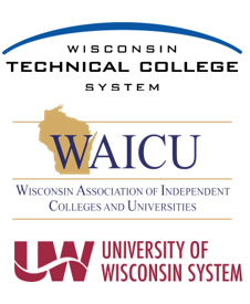 Logos for WTCS, WAICU, and UW System
