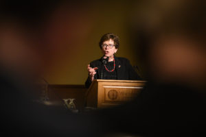 Photo of UW-Madison Chancellor Becky Blank UW-Madison Chancellor Rebecca Blanks speaking during her presentation at the UW System Board of Regents meeting hosted at Union South at the University of Wisconsin–Madison on Feb. 6, 2020. (Photo by Bryce Richter/UW-Madison)