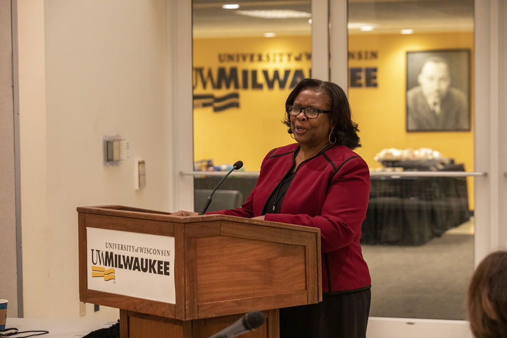 Photo of Regent Carolyn Stanford Taylor speaking about her service on the board