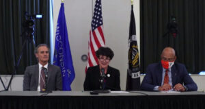 Image of chancellor panel (from left) Chancellor Gow, Chancellor Ford, and Chancellor Shields