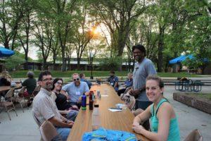 faculty having evening break outdoors