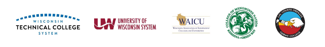 logos of the Wisconsin higher education supporting the conference: Wisconsin Technical College System, UW System, Wisconsin Association of Independent Colleges & Universities, College of Menominee Nation, and Lac Courte Orielles Ojibwe College