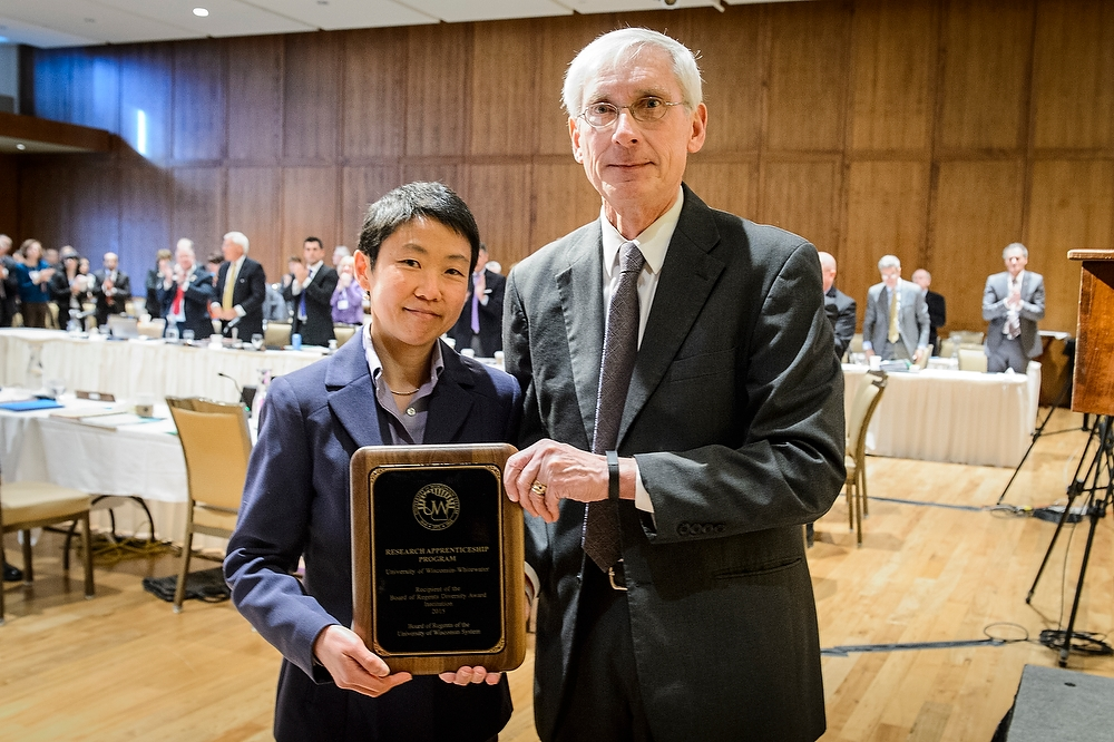 Catherine Chan (left), director of the Undergraduate Research Program at UW-Whitewater, and Regent Tony Evers