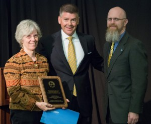 Dr. Karen Havholm, Regent Drew Petersen, and Jeremy Miner