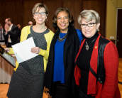 Cyndi Kernahan, Regent Eve Hall, and Regent President Regina Millner