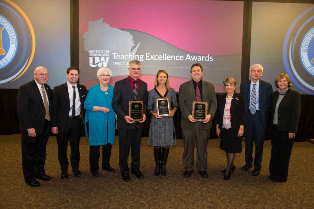 Recipients of the 2017 Board of Regents' Teaching Excellence Awards, with members of the Board of Regents selection committee, as well as Regent President Millner and UW System President Cross.