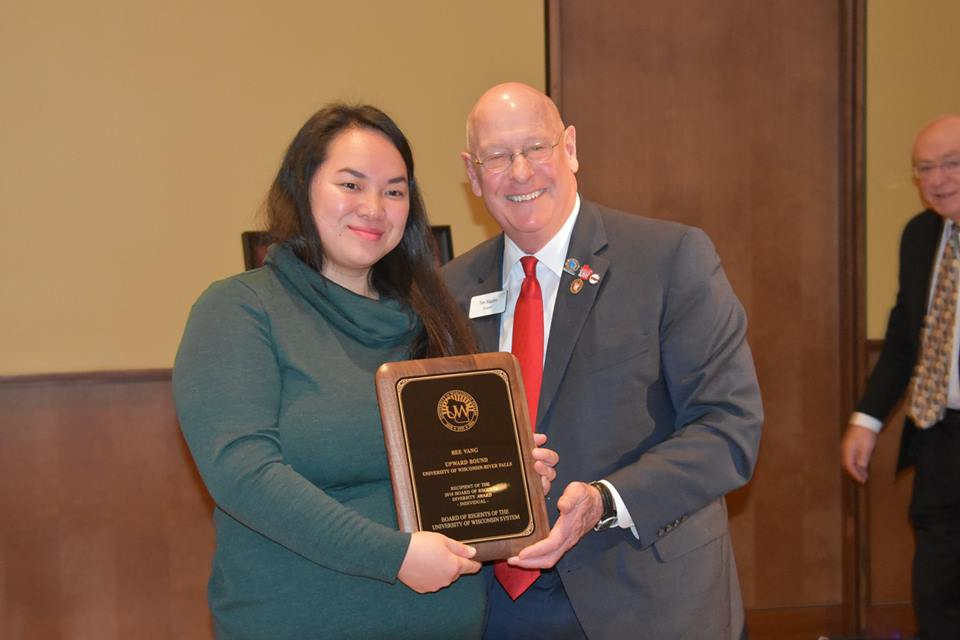 Photo of Bee Vang and Regent Tim Higgins