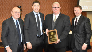 Photo of (from left) Pres. Ray Cross, Regent Bryan Steil, LSRI Director Matthew TenEyck, and Regent Pres. John Robert Behling