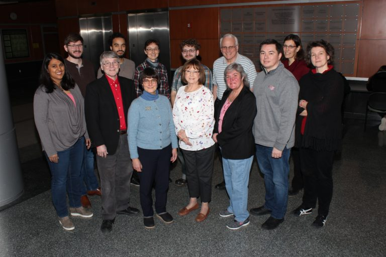 Photo of members of the Department of Chemistry Climate and Diversity Committee including: Front row, from left: Desiree Bates, Robert Hamers, Judith Burstyn, Karen Stephens, Kristi Heming, AJ Boydston, and Heike Hofstetter. Back row, from left: Wesley B Swords, Zachary Jones, Silvia Cavagnero, Sam Wood, Matthew Sanders, and Cheri Barta. Not pictured: Andrew Greenberg (Photo by Tatum Lyles Flick/UW-Madison)