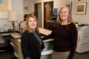 Photo of (from left) UW-Stout's Director of Student Support Services Angela Ruppe and Fostering Success program advisor Gail Mentzel