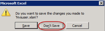 do not save the nvsuser file when prompted
