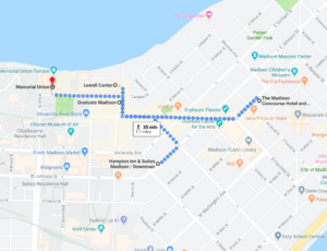 Map of Lodging Options to Memorial Union