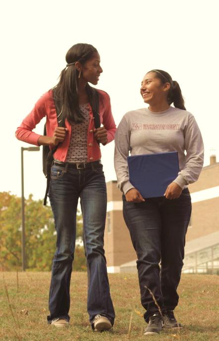 photo of students walking/talking outside at Baraboo