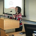 Angie Kellogg of the UW System Office of Academic and Student Affairs welcomes participants to the Fall Advising Workshop October 23, 2018, at the Pyle Center in Madison, Wisconsin.