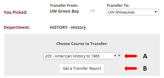 Choose particular UW-Green Bay history course to transfer to UW-Milwaukee
