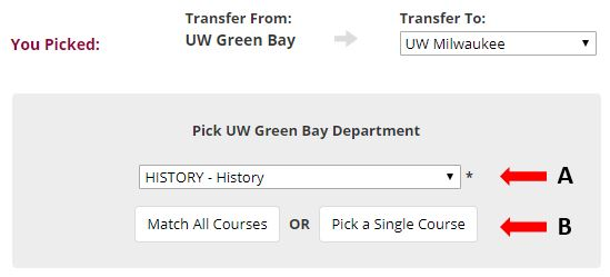 Pick UW-Green Bay history department to see how courses transfer to UW-Milwaukee