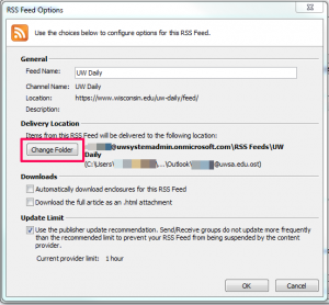 how to change which folder receive new email