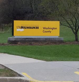 UW-Milwaukee Washington County entrance sign