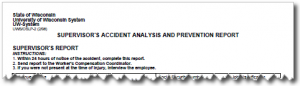 Supervisor's Accident Analysis and Prevention Report