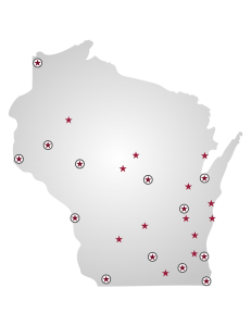 A map of Wisconsin that shows all UW institutions